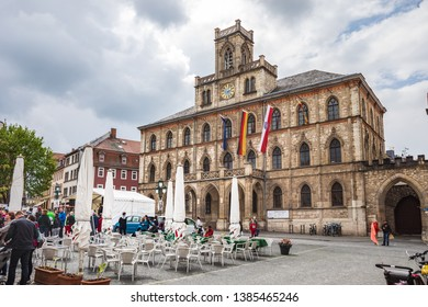 WEIMAR, GERMANY - CIRCA APRIL, 2019:  Marktplatz and City Hall of Weimar in Thuringia, Germany