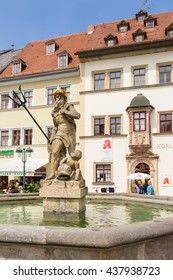 WEIMAR, GERMANY - JUL 24, 2015: Neptune's Fountain on the Market Square
