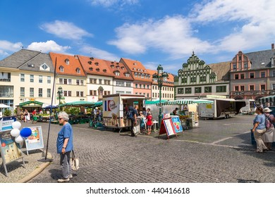 WEIMAR, GERMANY - JUL 24, 2015: Trading in the Market Square