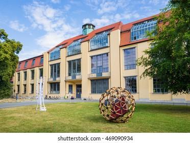 WEIMAR, GERMANY - JULY 15 2016: Main building of Bauhaus-Universität State Bauhaus University for arts crafts architecture design during Summaery student exhibiton 2016