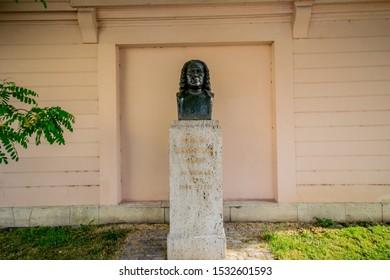 Weimar, GERMANY - JUNE 19, 2019: Platz der Demokratie with Johann Sebastian Bach monument
