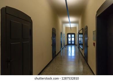 "Weimar, Germany - May 26 2017: Interior view of the main building of Bauhaus University Weimar (german: ""Bauhaus-Universität Weimar"")"