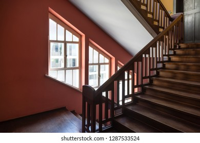 """Weimar, Germany - May 26 2017: Staircase of the main building of Bauhaus University Weimar (german: """"Bauhaus-Universität Weimar"""")"""