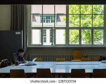 """Weimar, Germany - May 26 2017: Interior view of a classroom in the main building of Bauhaus University Weimar (german: """"Bauhaus-Universität Weimar"""")"""