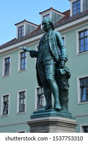 Weimar, region Thuringia / Germany – 07.14.2018: Monument to the German poet and editor Christoph Martin Wieland in the historical town of Weimar, Thuringia, Germany