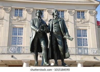 Weimar, Thuringa / Germany - October 08, 2008: The Goethe and Schiller Monument in front of the German National Theater in Weimar