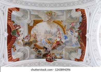 WEINGARTEN, GERMANY - JULY 12, 2018: Personification of the Benedictine Virtues, excerpt from the Glory of St. Benedict, fresco by Cosmas Damian Asam in the Basilica of St. Martin and Oswald