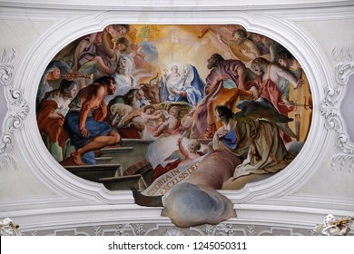 WEINGARTEN, GERMANY - JULY 12, 2018: Nativity Scene, Birth of Jesus, fresco by Cosmas Damian Asam in the Basilica of St. Martin and Oswald in Weingarten, Germany