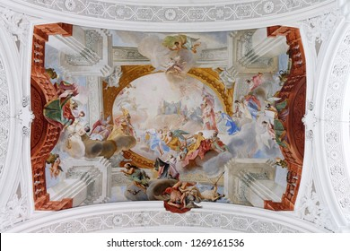 WEINGARTEN, GERMANY - JULY 12, 2018: Personification of the Benedictine Virtues, excerpt from the Glory of St. Benedict, fresco by Cosmas Damian Asam in the Basilica of St. Martin and Oswald in Weinga
