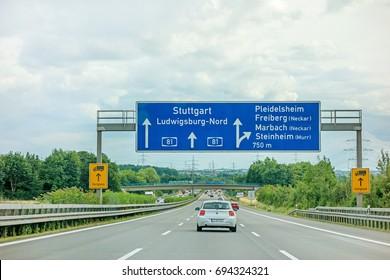 Weinsberg, Germany - June 28, 2017: Highway A81(Autobahn) near town Pleidelsheim, exit Freiberg / Marbach (Neckar) / Steinheim (Murr) - direction Stuttgart / Ludwigsburg