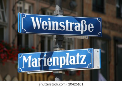 Weinstrasse and Marienplatz - street and square name in the very center of Munich old town