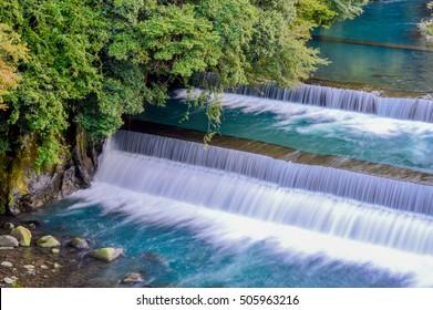 weir, artificial dam. Hakone, in Japan's Fuji-Hakone-Izu National Park west of Tokyo.