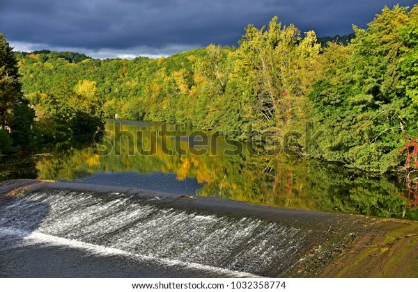 A weir on the Agout river at Roquecourbe, Tarn, France