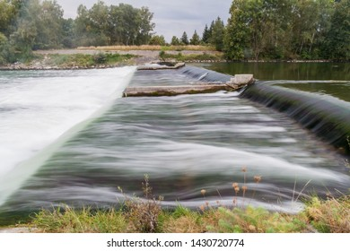 Weir on river Lech near Augsburg, Germany