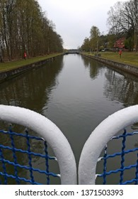 Weir and sluice with fish ladder on the river of all