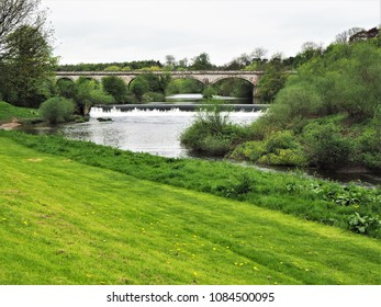 Weir and viaduct on the River Wharf at Tadcaster, Yorkshire
