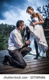 Weird bride and groom session
