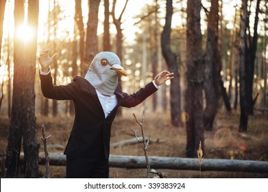 Weird businessman in a rubber bird mask pretending to fly in the sunset forest