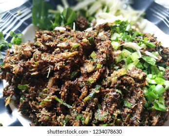 Weird Food. Yum Cicadidae put mango. Thai food in northeast thailand.