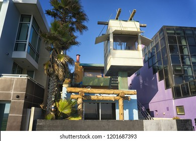 Weird houses on the board of Venice Boardwalk, Los Angeles.