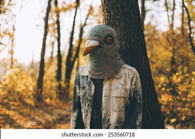 Weird man in a creepy rubber pigeon bird mask in the autumn sunset forest