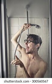 Weird man taking a shower