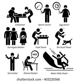 Weird Unusual Odd Job - Embalmer, Sperm Egg Donor, Surrogate Mother, Pet Food Taster, Sommelier, Ethical Hacker, Water Slide Tester - Stick Figure Pictogram Icons