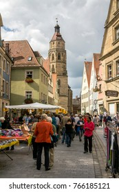 WEISSENBURG IN BAYERN, Germany - SEP 3, 2017: Town square with people and traditional houses and market place in the bavarian town of weissenburg, Germany