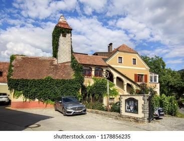 WEISSENKIRCHEN IN DER WACHAU, AUSTRIA - JULY 8, 2018. Old winery. Town of Weissenkirchen in der Wachau, district of Krems-Land, Lower Austria, Europe.