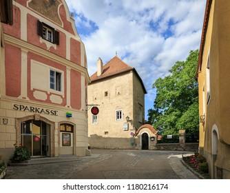 WEISSENKIRCHEN IN DER WACHAU, AUSTRIA - JULY 8, 2018. Old town center, view of the Savings Bank. Weissenkirchen in der Wachau, district of Krems-Land, Lower Austria, Europe.