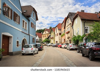 WEISSENKIRCHEN IN DER WACHAU, AUSTRIA - JULY 8, 2018. Old residential neighborhood. Town of Weissenkirchen in der Wachau, district of Krems-Land, Lower Austria, Europe.