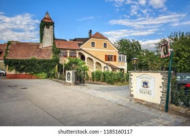 WEISSENKIRCHEN IN DER WACHAU, AUSTRIA - JULY 8, 2018. Old winery and wine tavern. Town of Weissenkirchen in der Wachau, district of Krems-Land, Lower Austria, Europe.