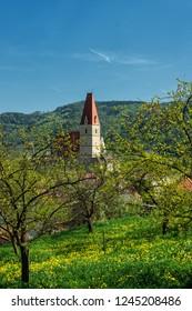 WEISSENKIRCHEN IN DER WACHAU, AUSTRIA - JULY 8, 2018.Town of Weissenkirchen in der Wachau, district of Krems-Land, Lower Austria, Europe.