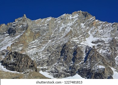 The Weisshorn in Southern Switzerland, with the Grand Gendarme to the left. One of the highest mountains in Europe
