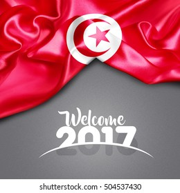 Welcome 2017 Tunisia Flag on Texture background