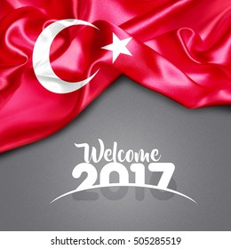 Welcome 2017 Turkey Flag on Texture background