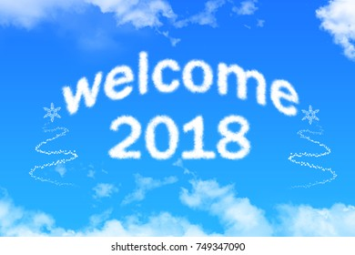 welcome 2018 cloud text on blue sky