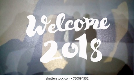 welcome 2018 quote against abstract background