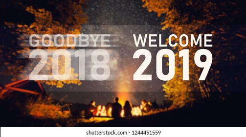 Welcome 2019. Goodbye 2018. Start Concept. Blurred image background. The fire at night