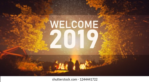 Welcome 2019. Start Concept. Blurred image background. The fire at night