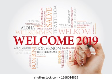 WELCOME 2019 word cloud in different languages with marker, conceptual background