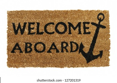 Welcome aboard mat, isolated on white.  Taken from above.