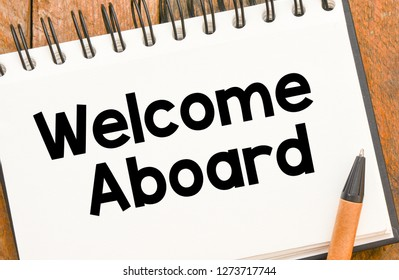Welcome aboard text concept