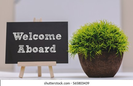 WELCOME ABOARD written on chalkboard with green plant,conceptual copyspace