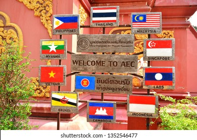 Welcome to AEC (ASEAN Economic Community) flag and symbol in Golden Triangle, famous attraction in Chiang Rai, north of Thailand