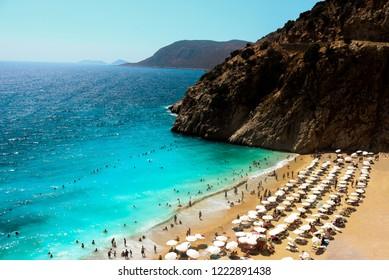 Welcome to amazing Antalya concept. beach in popular resort city Antalya, Turkey