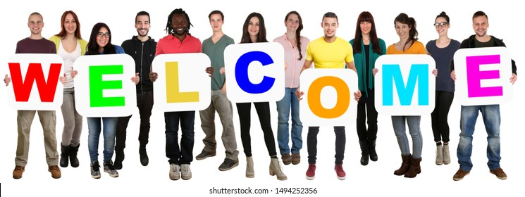 Welcome back home refugee refugees customer group of young multi ethnic people isolated on white