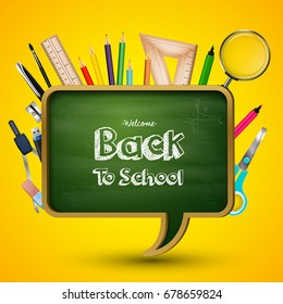 Welcome back to school with blackboard and school supplies
