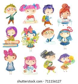 Welcome back to school! Cute watercolor school kids big set