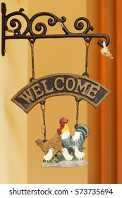 Welcome banners and clay of chicken